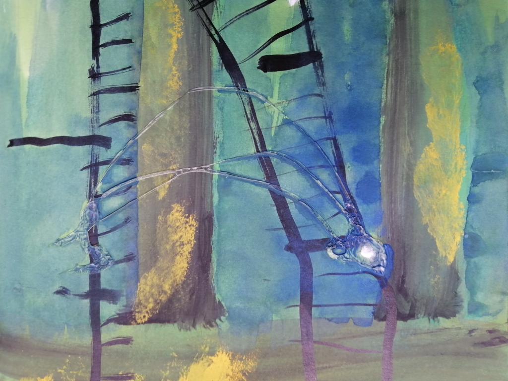 watery ink depicting disintergrating ladders